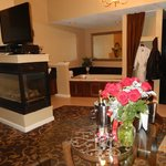 fireplace, jacuzzi, large shower, romance package includes roses and we bought the champagne