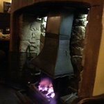 Open fire in dining room