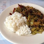 Chinese mustard greens with chilies and pork