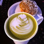 Japanese Green Tea Latte, Green Tea Brioche