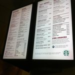 Menu at Starbucks in the Fitness and Racquet centre