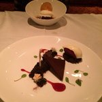 Desserts: Hot sticky toffee pudding cake (far) and dark chocolate brownie (with goat cheese ice