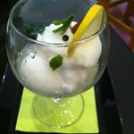 Le dessert: sorbet de gin tonic