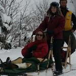 Guide Nate with Guests on tandem sled