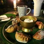 Fried apple momos with vanilla ice-cream. Delicious ;-)