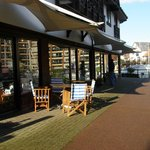 Outside seating overlooking the marina