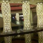 Chandeliers beside the hotel check in!