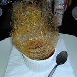Creme Brulee with a sugar spun nest