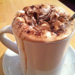 Almond hot chocolate with coconut