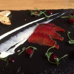 Beautiful smoke salmon starter