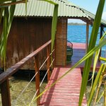 entrance to bungalow on the water