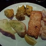 the salmon and prawns dinner