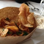 Homemade chips with onion dip