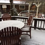Patio outside of Lavender Cottage during snow.