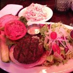 Kobe Beef burger with extra side of slaw