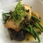 Cobia over heirloom potatoes and green beans with lemon caper sauce