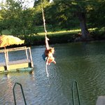 Rope swing and island