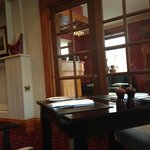 In Larceny restaurant, looking through to reception