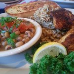 Frenchy bread, Tilapia, dirty rice, Cajun black eyed peas (veggie d'jour)