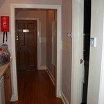 Hallway with counter kitchen area in Barham suite