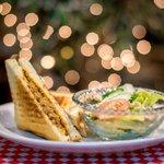 Sandwich Combo (Grilled Pork Floss Sandwich + Caesar Salad) 三明治套餐 (熱烤肉鬆起士三明治+凱蕯沙拉)