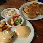 classic eggs benedict with home fries, banana pancakes with house syrup!