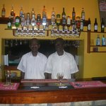 Boycy and Charles at the bar serving at lunch and of course, early G&T's at the pool.