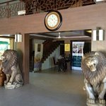 Hotel lobby with lion statues