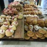 Breakfast buffet pastry selection