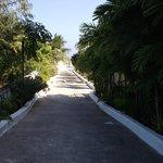 Walk from resort to beach