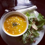 Pumpkin soup and caesar salad