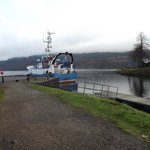 Caledonian Canal footpath which opens out onto Loch Ness