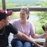 My Fiance and I with Sky the Cheetah