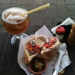 Tasty falafel for 30Q and ice tea for 18Q