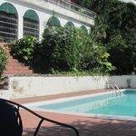 Steps from pool to veranda