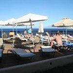 Sun bathing area by lower pool