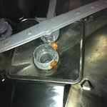 remnants of previous occupant's dinner in dishwasher