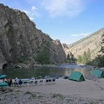 cliffside camp on Idaho's Middle Fk. Salmon