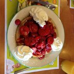 Waffle with MOUNTAIN of strawberries