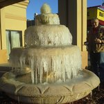 The fountain froze over :) right outside the hotel's front doors