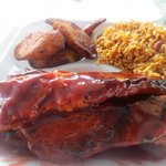 BBQ with rice and plantains