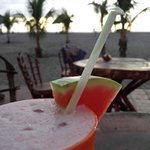 Enjoying a watermelon smoothie just before sunset :)