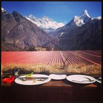 Breakfast with Everest and Amadablan. at 3,800m!!
