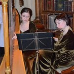 Harp and Flute players