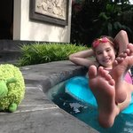 Our daughter and friend relaxing in the plunge pool!