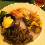 Stuffed flounder with seasoned green beans & sautéed vegetables. Recommend leaving the lobster s