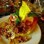 Thai minced chicken on banana flower