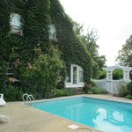 Vine covered exterior (summer) and the pool!