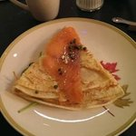 salmon crepe with mini olives