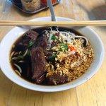 The beef noodle soup